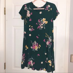 Old navy green floral swing dress